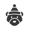 bear wearing santa hat silhouette icon design vector image vector image