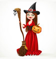 beautiful witch in a red dress holding a broom vector image vector image
