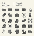 bitcoin glyph icon set cryptocurrency symbols vector image vector image