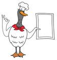 cartoon duck chef with a menu vector image