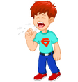 cartoon little boy coughing vector image vector image