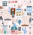 childish seamless pattern with cartoon city life vector image