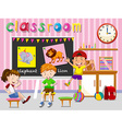 Children having fun in classroom vector image vector image