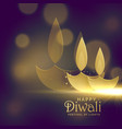 creative golden diwali diya with glowing light vector image vector image