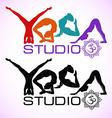 creative logo yoga studio with womens vector image vector image