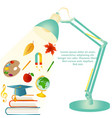 design template with school items text desk lamp vector image