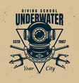 diving school emblem with text underwater vector image vector image