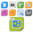 file types icons and formats labels file vector image