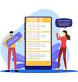 five stars mobile app feedback vector image vector image