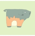 Flat hand drawn icon of a cute pig vector image