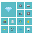 flat icons jewel gem billfold growing chart and vector image vector image