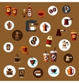 Flat takeaway coffee cups beans pots icons vector image
