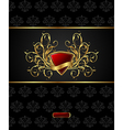 floral packing with heraldic shield - vector image vector image