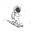 funny spaceman rides on skateboard vector image