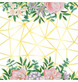 gold geometric background whit flowers vector image vector image