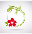 green lizard and red hibiscus vector image vector image