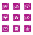 keeping the money icons set grunge style vector image vector image