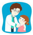 little girl on medical check up with male vector image