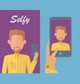 man with beard making selfie vector image vector image