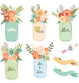 Mason Jar Wedding flower Collections vector image vector image