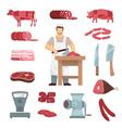 Meat Butcher Set vector image vector image