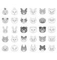 muzzles of animals monochromeoutline icons in set vector image