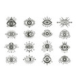 mystical eyes symbols set esoteric signs with vector image