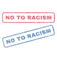 no to racism textile stamps vector image vector image