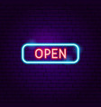 open sign neon label vector image vector image