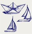 Origami paper ship vector image vector image
