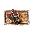 pieces of meat on a cutting board vector image vector image