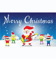 santa claus and childen hello merry christmas vector image