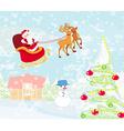Santa Claus flying over village vector image vector image