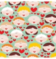 Seamless pattern with female faces and hearts vector image