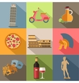 set italy travel colorful flat icons italy vector image