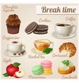 Set of food icons Break time vector image vector image