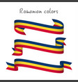 set of three ribbons with the romanian tricolor vector image vector image