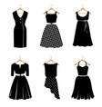 six elegant black dresses vector image