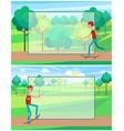 skateboarder training in green skatepark with tree vector image