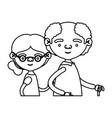 sketch silhouette half body elderly couple in vector image vector image