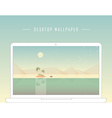 Smooth polygonal landscape design with laptop vector image