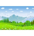 Summer landscape with meadows and mountains vector image vector image