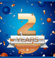 two years anniversary celebration design vector image vector image
