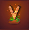 wooden letter y decorated with grass vector image vector image