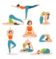 Asana yoga collection of girls doing sport in vector image