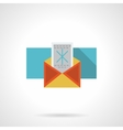 Red envelope with snowflake flat color icon vector image