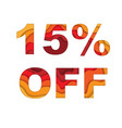 15 percent off sale vector image