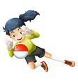 A young lady using the ball with the flag of vector image vector image