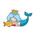 beautiful lying dreamy mermaid with golden crown vector image vector image