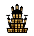 Big haunted house with bats over white background vector image